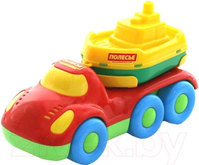 Набор игрушечных автомобилей Полесье Автомобиль для перевозки Дружок с корабликом Буксир / 48370