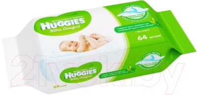 Влажные салфетки детские Huggies Ultra Comfort с Алоэ Вера и витамином Е (64шт)