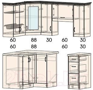 Готовая кухня Интерлиния Мила Шале 12x18 правая (белое дерево)