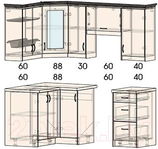 Готовая кухня Интерлиния Мила Шале 12x19 правая (ясень крем)