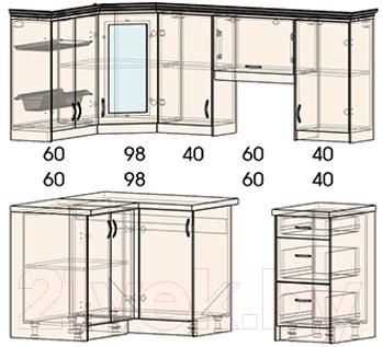 Готовая кухня Интерлиния Мила Шале 12x20 правая (белое дерево)