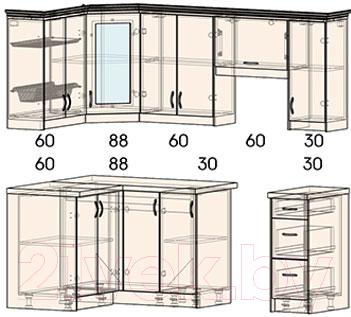 Готовая кухня Интерлиния Мила Шале 12x21 правая (белое дерево)