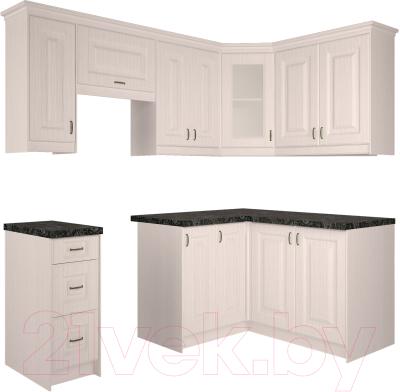 Готовая кухня Интерлиния Мила Шале 14x21 правая (белое дерево)
