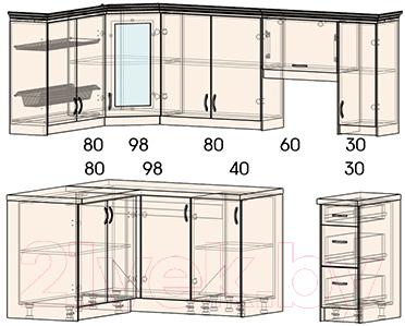 Готовая кухня Интерлиния Мила Шале 14x23 правая (белое дерево)