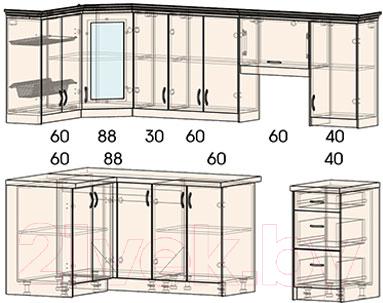 Готовая кухня Интерлиния Мила Шале 14x25 правая (белое дерево)
