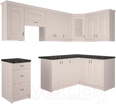 Готовая кухня Интерлиния Мила Шале 14x26 правая (белое дерево)
