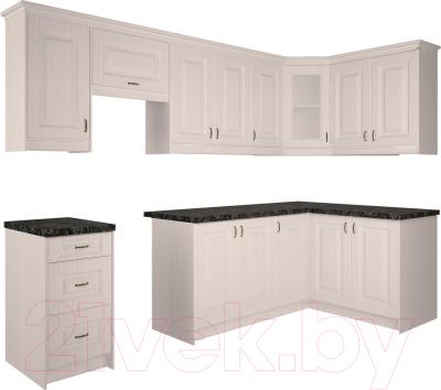 Готовая кухня Интерлиния Мила Шале 14x28 правая (белое дерево)