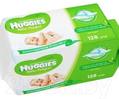 Влажные салфетки детские Huggies Ultra Comfort с Алоэ Вера и витамином Е (64x2шт)