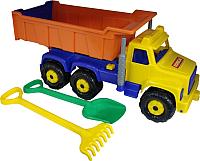 Самосвал игрушечный Полесье Супергигант с большими граблями и лопаткой / 5557 -