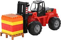 Погрузчик игрушечный Полесье Автокар с конструктором на поддоне / 1633 (в сеточке) -
