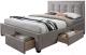 Двуспальная кровать Halmar Evora (бежевый) -