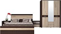 Комплект мебели для спальни Интерлиния Коламбия-4 (дуб венге/дуб серый) -