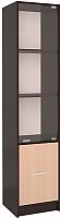 Шкаф-пенал с витриной Интерлиния СК-024 (дуб венге/дуб молочный) -