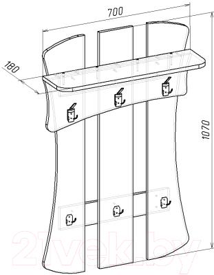 Вешалка для одежды Мебель-Класс Нюанс-2 / МК 501.03.2 (венге/ дуб шамони)