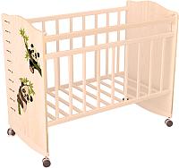 Детская кроватка VDK Морозко Панда колесо-качалка (бежевый/слоновая кость) -