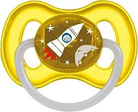 Пустышка Canpol Космическая латексная круглая 6-18мес / 23/222 (желтый, со светящимся колечком) -