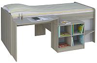 Кровать-чердак детская Polini Kids Simple 4000 со столом и полками (вяз/белый) -