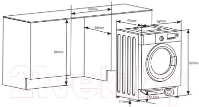 Стирально-сушильная машина встраиваемая Weissgauff WMDI6148D
