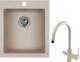 Мойка кухонная Granula GR-4201 + смеситель Spring 35-09L (антик) -