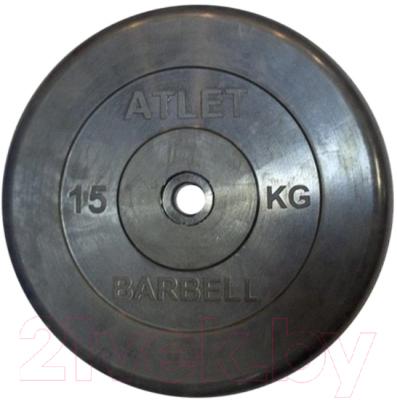 Диск для штанги MB Barbell d51мм 15кг (черный)