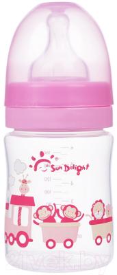 Бутылочка для кормления Sun Delight С широким горлышком / 31565 (160мл, розовый)