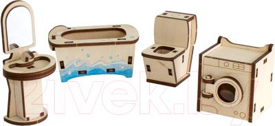 Комплект аксессуаров для кукольного домика Woody Набор мебели. Ванная / 02147