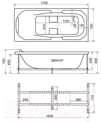 Ванна акриловая Triton Диана 170x75 Люкс (с гидромассажем)
