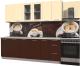 Готовая кухня Интерлиния Мила Пластик 2.3 Б (шоколад глянец/ваниль глянец/опал светлый) -