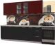 Готовая кухня Интерлиния Мила Пластик 2.3 Б (черный глянец/бордо глянец/опал светлый) -