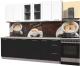 Готовая кухня Интерлиния Мила Пластик 2.3 Б (черный глянец/белый глянец/опал светлый) -