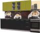 Готовая кухня Интерлиния Мила Пластик 2.3 Б (черный глянец/оливковый глянец/кастилло темный) -
