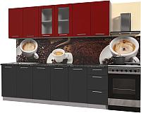 Готовая кухня Интерлиния Мила Пластик 2.4 Б (антрацит глянец/красный глянец/кастилло темный) -