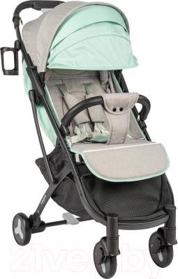 Детская прогулочная коляска Sundays Baby S600 Plus (черная база, серый/бирюзовый)