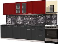 Готовая кухня Интерлиния Мила Пластик 2.6 Б (антрацит глянец/красный глянец/кастилло темный) -