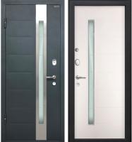 Входная дверь МеталЮр М36 Серый металлик/белый малибу (96x205, левая) -