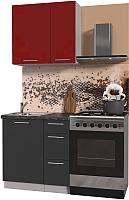 Готовая кухня Интерлиния Мила Пластик 0.8 А (антрацит глянец/красный глянец/кастилло темный) -