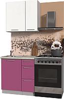 Готовая кухня Интерлиния Мила Пластик 0.8 А (гортензия глянец/белый глянец/опал светлый) -