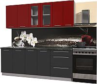 Готовая кухня Интерлиния Мила Пластик 2.2 Б (антрацит глянец/красный глянец/кастилло темный) -
