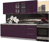 Готовая кухня Интерлиния Мила Пластик 2.2 Б (слива глянец/опал светлый) -