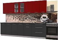 Готовая кухня Интерлиния Мила Пластик 2.9 Б (антрацит глянец/красный глянец/кастилло темный) -