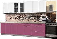 Готовая кухня Интерлиния Пластик 2.9 Б (гортензия глянец/белый глянец/опал светлый) -