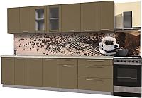 Готовая кухня Интерлиния Мила Пластик 2.9 Б (капучино глянец/опал светлый) -