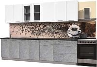 Готовая кухня Интерлиния Мила Пластик 2.9 Б (мрамор/белый глянец/кастилло темный) -
