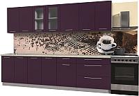 Готовая кухня Интерлиния Мила Пластик 2.9 Б (слива глянец/опал светлый) -