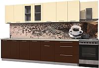 Готовая кухня Интерлиния Мила Пластик 2.9 Б (шоколад глянец/ваниль глянец/опал светлый) -