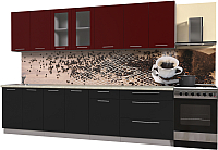 Готовая кухня Интерлиния Мила Пластик 2.9 Б (черный глянец/бордо глянец/опал светлый) -