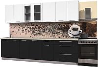 Готовая кухня Интерлиния Мила Пластик 2.9 Б (черный глянец/белый глянец/опал светлый) -