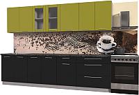 Готовая кухня Интерлиния Мила Пластик 2.9 Б (черный глянец/оливковый глянец/кастилло темный) -