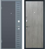 Входная дверь МеталЮр М28 Черный бархат/серый металлик/дуб шале седой (96x205, левая) -
