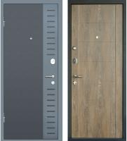 Входная дверь МеталЮр М28 Черный бархат/серый металлик/дуб шале натуральный (86x205, левая) -